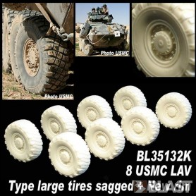 BL35132K - 8 USMC LAV LARGE TIRES SAGGED NEW RIM
