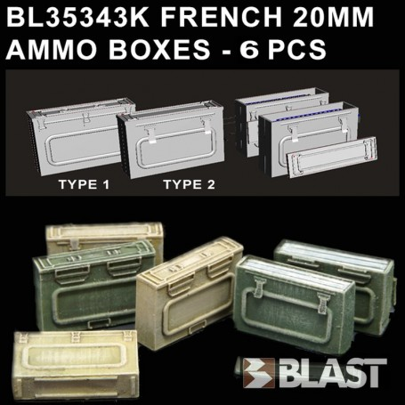 BL35343K - FRENCH ARMY 20MM AMMO BOXES - 6 PCS