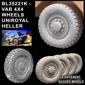 BL35221K - WHEELS SET  VAB 4X4 - UNIROYAL - HELLER