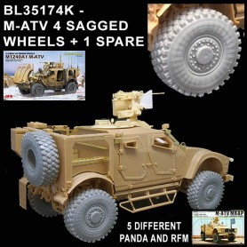 BL35174K - US M-ATV 4 SAGGED WHEELS - 1 SPARE - 5 DIFFERENT - PANDA RFM