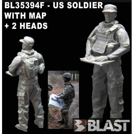 BL35394F - US SOLDIER WITH MAP - 2 HEADS