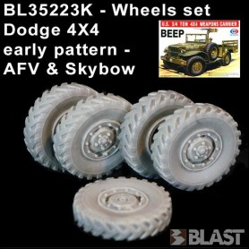BL35223K - WHEELS SET DODGE EARLY PATTERN 4 + 1 SPARE - AFV CLUB - SKYBOW