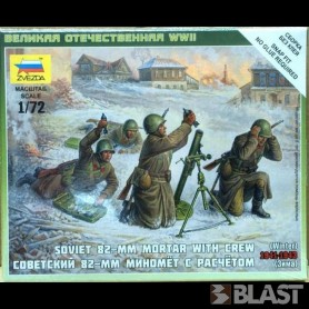 ZWE6208 - SOVIET 82MM MORTAR WITH CREW - 5 FIG 1/72