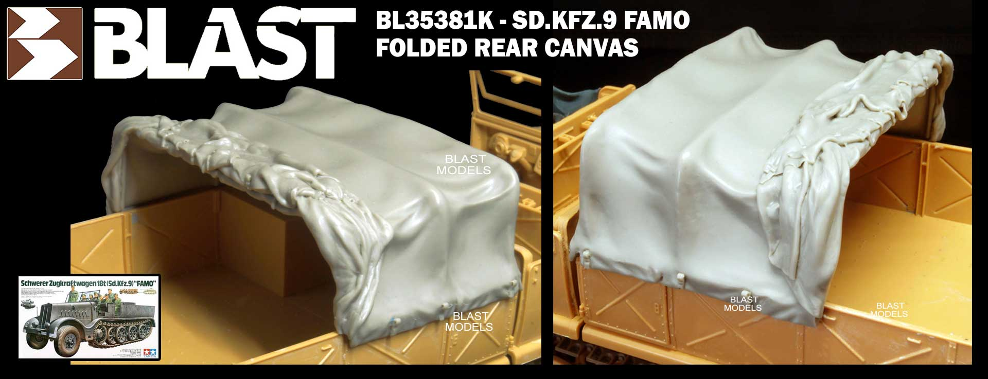 BL35381K GERMAN SD.KFZ.9 FAMO FOLDED REAR CANVAS